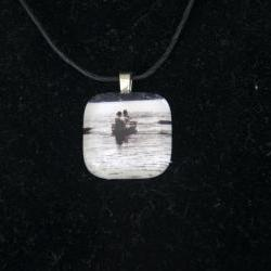 Canoe Glass Pendant on Black Cord