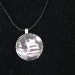 Blurry Cars Glass Pendant on Black Cord