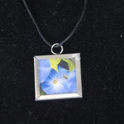 Morning Glory Pendant on Black Cord