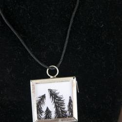 Pine Trees Pendant on Black Cord