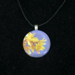 Yellow and Purple Glass Pendant on Black Cord