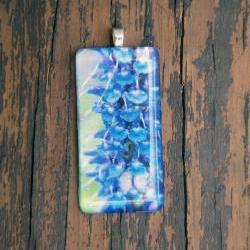 Purple/Blue Flower Pendant on Black Cord
